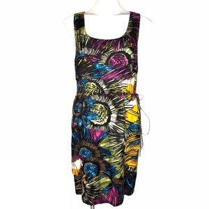 Julie Dillon Colorful Print Silk Sheath Dress
